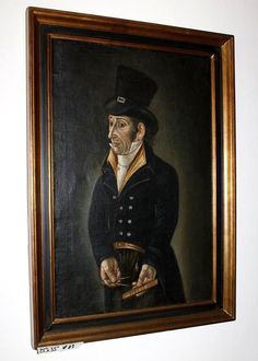 Lot #83 - Antique Original Oil on Canvas - Charles Dicken's  Character