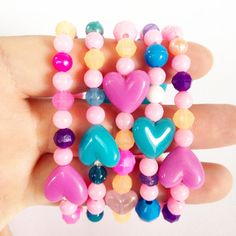 Girls Pink and Blue Heart Plastic Beaded Bangle by JewelsofJane, $7.00