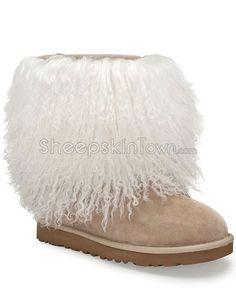 Tan Sheepskin Cuff Boots with Tibetan Lamb Fur Trim
