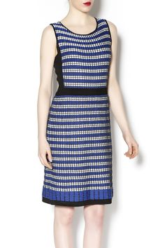 Blue and black knit sleeveless dress. Wear it alone for spring or layer it with a denim jacket for fall.   Blue Knit Sleeveless Dress by Laundry. Clothing - Dresses Chicago, Illinois