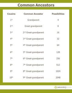 This handy chart explains how your cousins are related to you. Click through for information about AncestryDNA cousin matches.