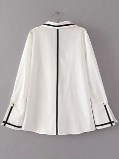 To find out about the White Contrast Trim Bell Sleeve Button Blouse at SHEIN, part of our latest Blouses ready to shop online today! Muslim Fashion, Hijab Fashion, Kurta With Pants, Blouse Dress, Chic Dress, White Shirts, Simple Dresses, Cute Fashion, Blouses For Women