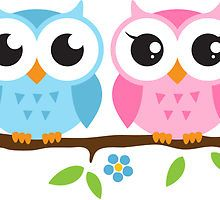 Cute blue and pink owl sitting on a branch sticker by MheaDesign