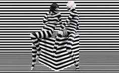 """limoncellomusings: """" F and I will be zebras in next lifetime. julienfoulatier: """" Photography by Stefan Sagmeister. Stefan Sagmeister, Sagmeister And Walsh, Victor Vasarely, Black White Stripes, White Art, Optical Illusions, Black And White Photography, Body Painting, Painting Art"""