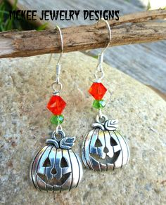 Pumpkin earrings. Silver pumpkin charms and crystals. McKee Jewelry Designs