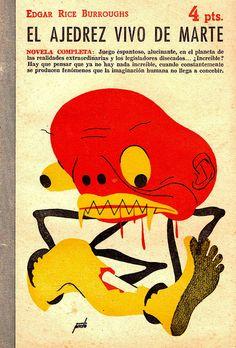 """Manolo Pireto - Illustration for Edgar Rice Burroughs """"The Chessmen of Mars"""" (1950 Spanish Edition)"""