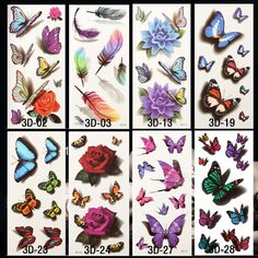 5805d4e8f945e 10pcs 3D Temporary Tattoos Flowers Rose Waterproof Body Art DIY Stickers  Hot-stamping Sex Products