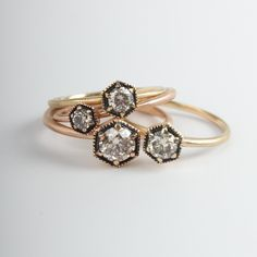 Satomi Hexagon Rings, available at www.catbirdnyc.com.