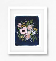 Navy and Blush Floral Print by DandelionPaperCo on Etsy
