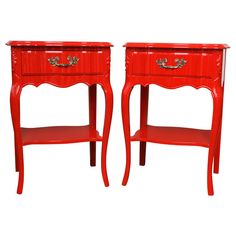 Pair of Red Glamour Dorothy Draper Style Nightstands | From a unique collection of antique and modern night stands at https://www.1stdibs.com/furniture/tables/night-stands/