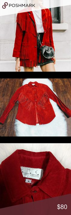 🎉HOST PICK! Boho Red Fringe Top Very similar to the cover photo... This vintage top is great for a boho look. It has Velcro shoulder pads that can be put in or taken out. And then as shown there is some wear at the back of the arms and a bit dirty at the top of the shoulders, otherwise in good vintage condition. Vintage Tops
