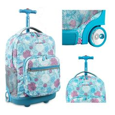Girls Rolling Backpack Wheeled Book Bag School Kids Travel Carry Luggage Tote