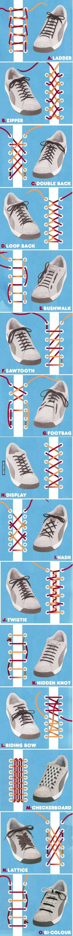 The best DIY projects & DIY ideas and tutorials: sewing, paper craft, DIY. Ideas About DIY Life Hacks & Crafts 2017 / 2018 Who knew there were so many different ways to tie your shoes? Ways To Tie Shoelaces, Tie Shoes, Shoes Men, Your Shoes, Shoes Sneakers, Just In Case, Helpful Hints, Life Hacks, Creations