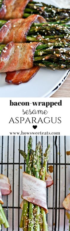 Bacon Wrapped Caramelized Sesame Asparagus // veggie sides via how sweet eats Side Dish Recipes, Low Carb Recipes, Dinner Recipes, Cooking Recipes, Healthy Recipes, Side Dishes, Entree Recipes, Top Recipes, Easy Recipes