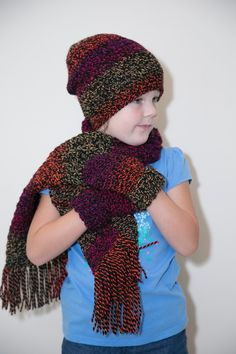 Kids Crochet Slouchy Hat, Scarf and Mitten Set by Mandyssewingroom on Etsy