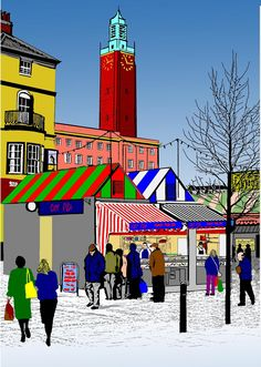 378 Norwich Market and City Hall Norwich England, Norwich Norfolk, Food Festival, Art Festival, Norwich Market, Posters Uk, Uk Photos, Winter Art, Bao