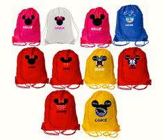 Disney Drawstring Bag Mickey and Minnie Vacation, Party Bags, Disneyland, Disney Cruise