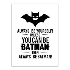 Aliexpress.com : Buy Black White Superhero Batman Typography Quotes Art Prints Poster Nursery Wall Picture Kids Room Decor Canvas Painting No Frame from Reliable painting aluminum bicycle frame suppliers on -_-