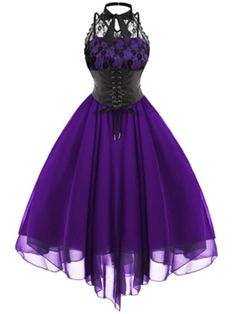 2019 Gothic Bow Party Dress Women Vintage Black Sleeveless Cross Back Lace Panel Corset Swing Dress Robe Vestidos Femme, Purple / XL Dress Robes, Lace Dress, Lace Chiffon, Lace Skirt, Party Dresses For Women, Prom Dresses, Chiffon Dresses, Sleeveless Dresses, 1950s Dresses