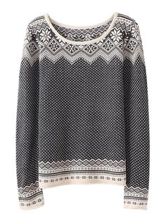 Variegated Long Sleeve Knit Sweater With Geometric Pattern