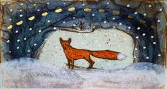 "Original etching ""Repolaakson hankikeli II"" by Maarit Kontiainen Magic Cat, Funny Art, Folk Art, Foxes, Gallery, Drawings, Cats, Graphics, Painting"
