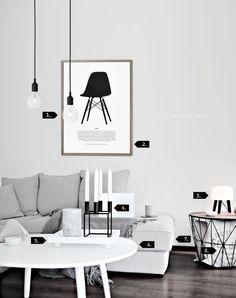 Only Deco Love - living room -   http://www.onlydecolove.com/p/get-look.html  1. Muuto E27 Pendant Lamp | 2. Onlydecolove Eames Poster | 3. &Tradition Milk Lamp  | 4. Kubus4 ByLassen | 5. White Bamboo Tray Design House Stockholm | 6. Ray sofa table Department | 7. Boston Sofa Bohus | 8. Black Wire Basket L Ferm Living  http://www.bloglovin.com/frame?post=3237071113&group=0&frame_type=b&blog=9943081&frame=1&click=0&user=0  http://www.bohus.no/stue/sofaer/sofaer/boston-hjmendeavsl/