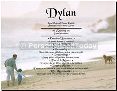 Father Son Child and Dog Family Beach Run Summer Vacation First Name History Origin Print Ancestry Art