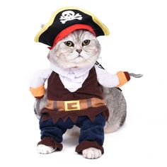 Free Shipping New Design Dog Cat Clothes Pet Cosplay Clothes Shape Pirate Ship Cotton Puppy Kitten Wear In Party 4 Sizes