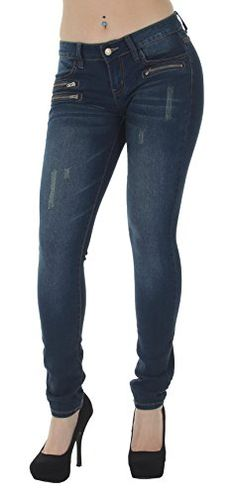 c58147cbdcfcf N568 Classic Design Embellished and Stylish Sexy Low Rise Skinny Jeans in  Navy Size 11