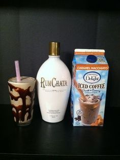 """""""Hard Frappacino"""" 2oz Rum Chata, 2 cups iced coffee (any flavor you like), 2 cups ice. Blend well and serve in a chocolate rimmed glass!"""