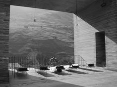 View from one of the terraces of the Thermal Baths in Vals by Peter Zumthor. Blick von einer der Terrassen der Therme in Vals von Peter Zumthor. Swiss Architecture, Space Architecture, Classical Architecture, Contemporary Architecture, Ancient Architecture, Sustainable Architecture, Serpentine Pavilion, Kolumba Museum, Therme Vals