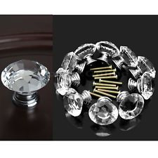 10 pcs Transparent Crystal Door Drawer Cabinet Cupboard Kitchen Pull Handle Knob