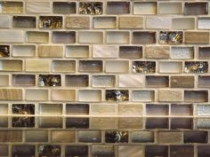 Paragon Moon Jewel Mini Brick PatternTile. Goes with black granite, stainless steel appliances, Oak cabinets and neutral wall colors! By: High Heels Give Me Gas: Upgrading the Kitchen