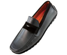 Amali Mens Penny Loafer Style Driving Moccasin in Black Smooth 1418-000 #Amali #DrivingMoccasins