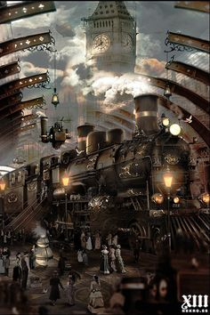 Alan Lynch Artists: Illustrators for book, editorial and film: NEKRO - Gideon Smith and the Mechanical Girl (Gideon Smith, by David Barnett Steampunk City, Arte Steampunk, Steampunk Artwork, Steampunk Interior, Fantasy Art Landscapes, Fantasy Landscape, Train Art, Train Pictures, Cool Art Drawings