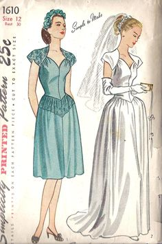 1940s Misses Wedding, Evening and Bridesmaid or Cocktail Dress Vintage Sewing Pattern, Simplicity 1610, Bust 30""