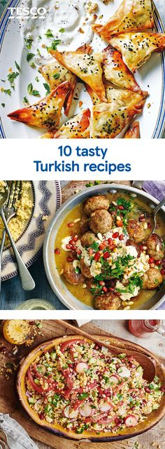 Try a taste of Turkish cuisine with our best Turkish recipes. Serve up spiced meatballs with houmous and pomegranate, fragrant bulgur wheat salads or a pretty pistachio and Turkish delight ice cream terrine for dessert. | Tesco Turkish Recipes, Greek Recipes, Ethnic Recipes, Fancy Party Food, Lunches And Dinners, Meals, Tesco Real Food, Turkish Delight, Middle Eastern Recipes