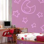 Decoración infantil con vinilos decorativos de nubes y estrellas. Vinilos decorativos de luna, estrellas y nubes para la decoración de habitaciones infantiles.