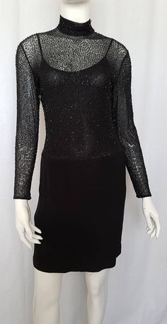 Vintage 80's GEORGE GROSS Black Stretch Body-Con Jet Bead & Silk Jersey Cocktail Dress w Built in Body Fit Teddy. Robert Palmer, Jersey Skirt, Glamour, Silk, Jet, How To Wear, Cocktail, Clothes, Vintage