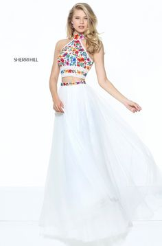 5897393df75d Sherri Hill 50870 two piece boho floral for prom Tulle Prom Dress