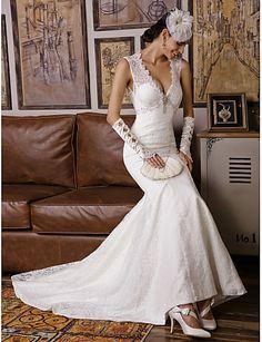 sereia / trompete v-neck varredura / escova vestido de noiva rendas de cordão com beading por noivas bordadas