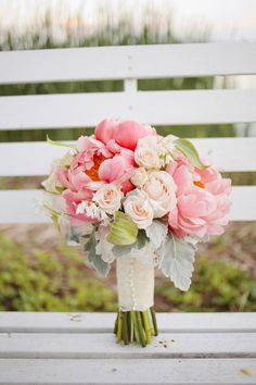 Pink peonies, blush roses and hints of green, all tired up with ribbon and pearls. Bliss!