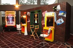 Broadway themed party room decor and props.