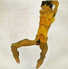Egon Schiele - Sedentary masculine act (self-portrait)