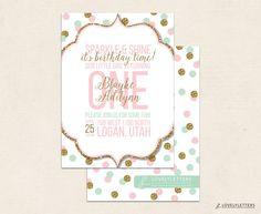Pink Mint & Gold Birthday Invitation / by LovelyLettersDesign