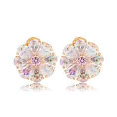 *Free shipping worldwide* Dazzling yet romantic. These colorful stud earrings features a cluster of iridescent crystals as a blossoming flower set in highly polished gold tone metal. Perfect for any occasion. | bridal earrings | wedding earrings | bridesmaid earrings | prom earrings | occasion earrings | gold earrings | bridal jewelry | wedding jewelry | prom jewelry | occasion jewelry | bridal jewellery | wedding jewellery | prom jewellery | iridescent earrings | iridescent jewelry