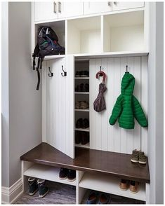 Coat And Shoe Storage, Entryway Shoe Storage, Entryway Closet, Diy Shoe Storage, Shoe Cubby, Closet Mudroom, Utility Closet, Hidden Storage, Closet Doors