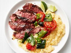 Southwestern Skirt Steak with Cheese Grits recipe from Food Network Kitchen via Food Network