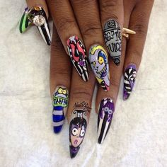 Beetlejuice cartoon nail art
