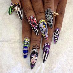 Beetlejuice cartoon nail art